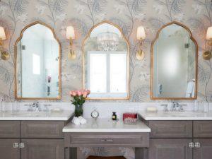 double vanity bathroom with wallpaper