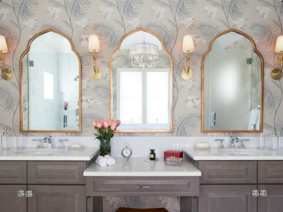 double vanity bathroom with wallpaper