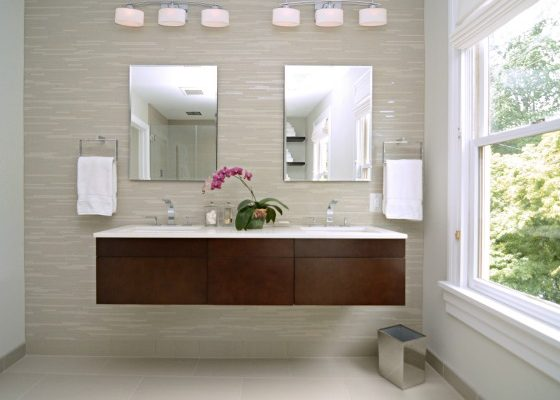 floating vanity double sinks modern bathroom