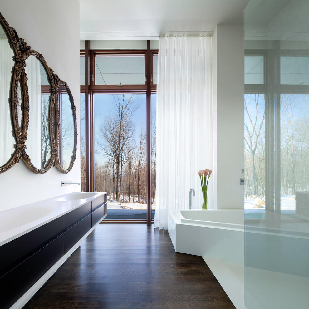 Unique bathroom mirrors in bathroom modern with floor to ceiling windows dark wood floor 2 Unique bathrooms