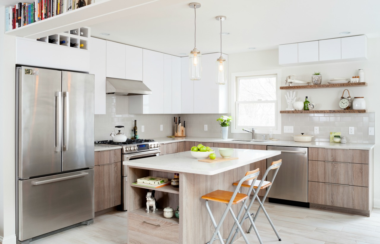 kitchen redesign with island and modern wood grain styling