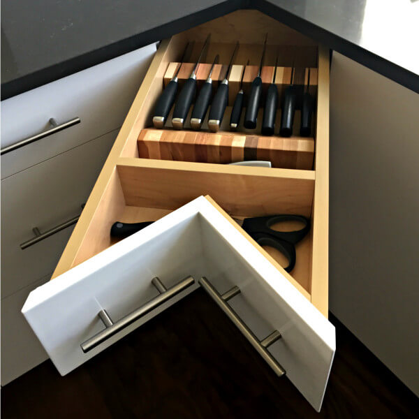 dartmouth condo kitchen remodel custom knife drawer storage