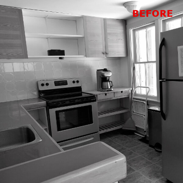 old dark kitchen before picture