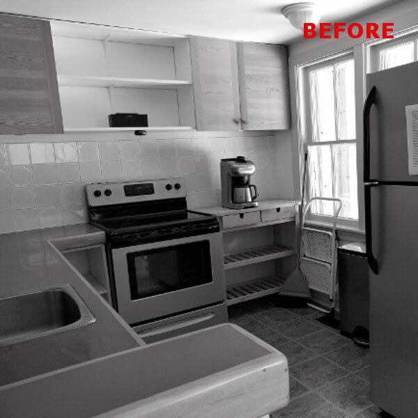old dark kitchen before picture