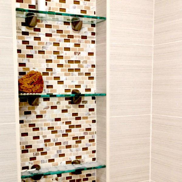 Bathroom remodel floating vanity tiled shower with bench halifax