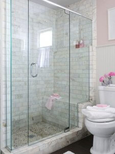 bathroom with built in bench in shower for aging in home