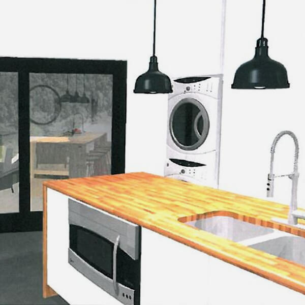 Case design kitchen addition design rendering drawing