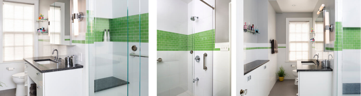 Green accents in new remodeled bathroom Case Design Remodeling
