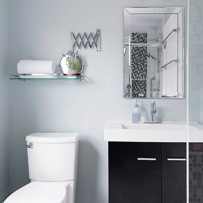 Accessibility bathroom with vanity, vessel sink and glass shelf