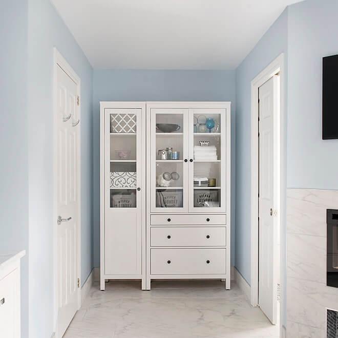 marble floor bathroom renovation storage vanity