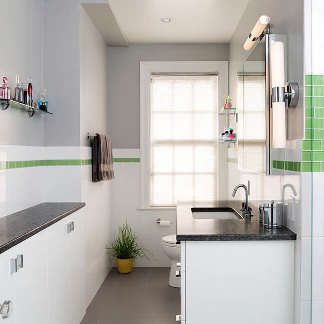 Fun and bright Green tiled bathroom renovation Halifax Case Design Remodeling