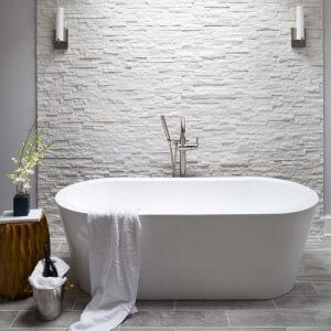 White Luxury Bathroom walk in shower and stand alone soaker tub, natural stone wall - Halifax Case