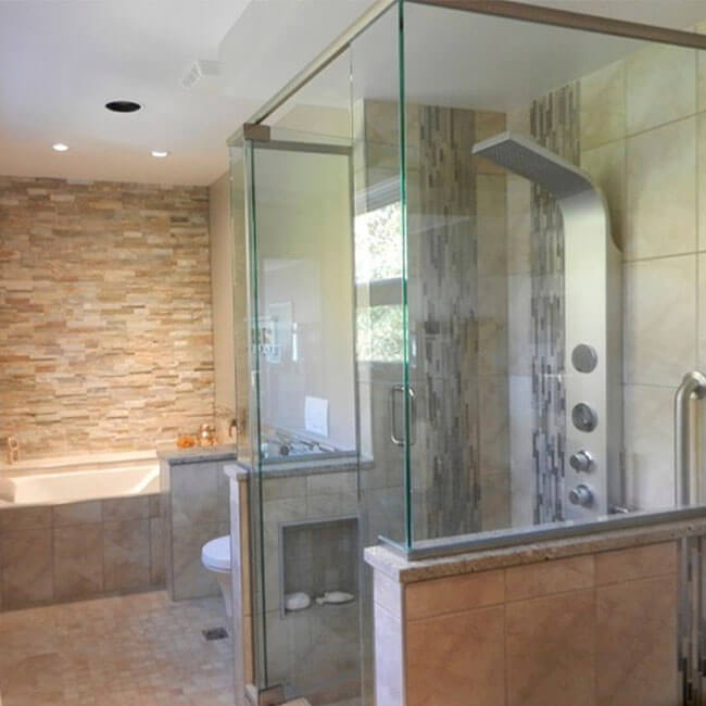 custom master bathroom ensuite remodel walkin closet, double vanity, walkin shower, stone wall Halifax Case Design Remodeling