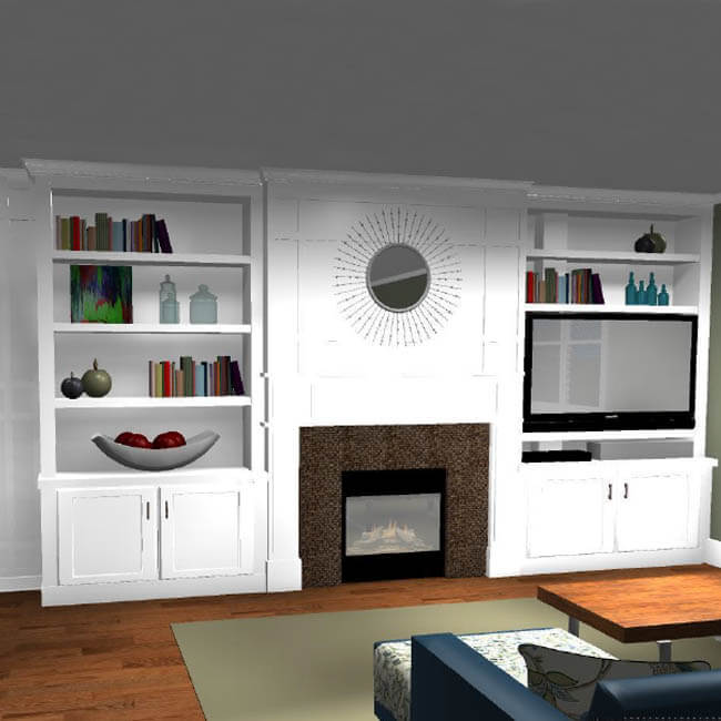 custome bookshelf 3D rendering