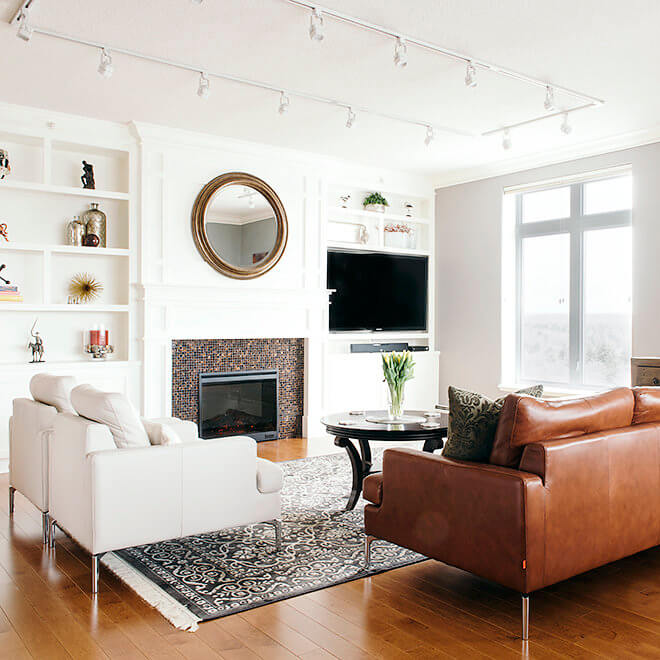 condo remodel living room bookself design