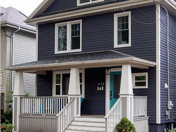 Exterior home facelift and porch addition South End Halifax