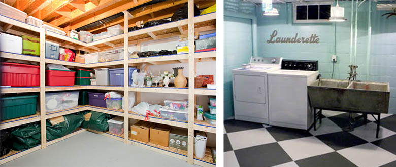 basement shelving and laundry space case design remodeling