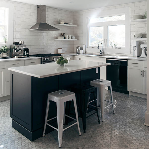 Kitchen dark island hexagon tiles