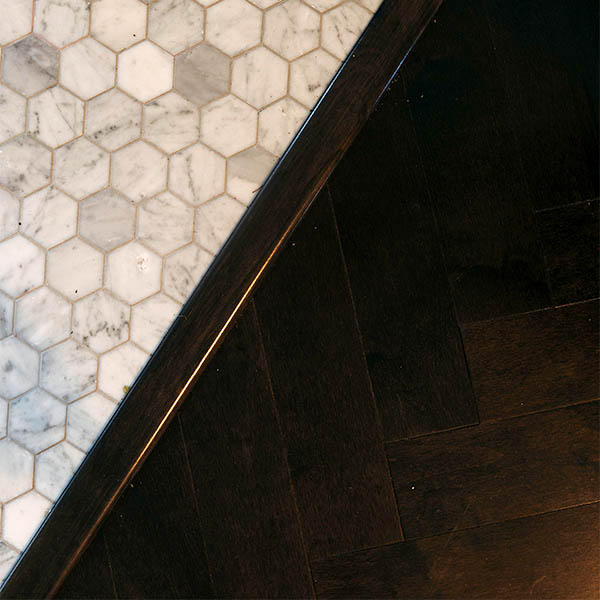 Kitchen hexagon tiles herringbone hardwood