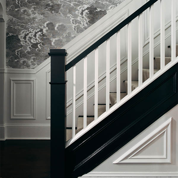 home renovation front hall wallpaper